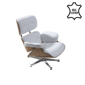 Eames Lounge Chair (replica) - Wit Leder met Essenhout *OUTLET*