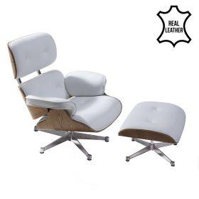 Eames Lounge Chair (replica) met ottoman/Hocker (set) - Wit Leder met Essenhout *OUTLET*