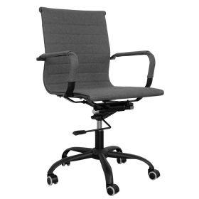 Zwart stalen bureaustoel met grijze bekleding