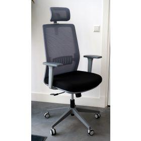 Bureaustoel Napoli met hoofdsteun grijs *OUTLET*