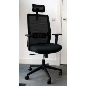 Bureaustoel Napoli met hoofdsteun zwart *OUTLET*