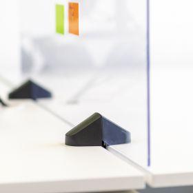 Scheidingsscherm / bureauscherm plexiglas - Incl. bureauklemmen voor dubbel bureau - 58x160 cm