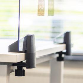 Scheidingsscherm / bureauscherm plexiglas - Incl. bureauklemmen voor enkel bureau - 58x160 cm