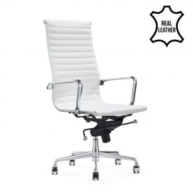 Bureaustoel Madrid Wit - 100% leder *OUTLET*