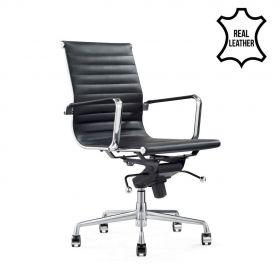 Bureaustoel Valencia Zwart - 100% leder *OUTLET*