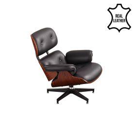 Eames Lounge Chair - Zwart Leder met Walnotenhout *OUTLET*