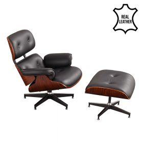 Eames Lounge Chair (replica) met ottoman/Hocker (set) - Zwart Leder met Walnotenhout *OUTLET*