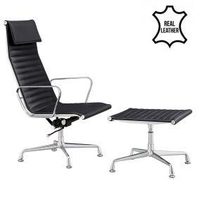 Design fauteuil + hocker 'Sevilla' - Zwart - Echt leder