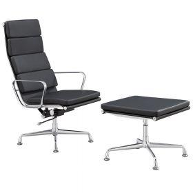 Design fauteuil + hocker 'Lerida' - Zwart - Echt leder