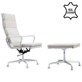 Design fauteuil + hocker 'Lerida' - Wit - Echt leder