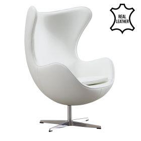 Egg Chair - Echt leder - Wit