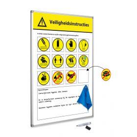 Veiligheidsregels attentiebord 30x45 cm - incl. magneten, wisser en stift