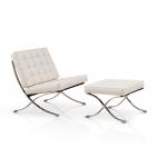 Barcelona Chair + Ottoman hocker set (replica) - Wit